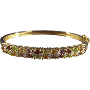 Vintage Multi Gemstone Hard Bangle Bracelet Sterling with Gold Wash