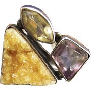 Designer Ring Amethyst Citrine and Golden Drusy Quartz set in Sterling Silver