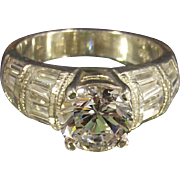 Round CZ and Tapered Baguettes Sterling Ring