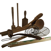 Ten Piece Collection of Wooden and Wire Kitchen Utensils