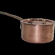 Vintage French Copper Sauce Pot with Original Lid #12