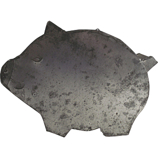 Tin Full Body Pig Pudding Mold circa 1930s