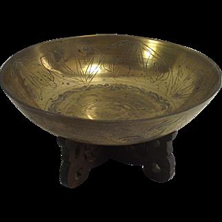 "Vintage Chinese Brass Good Fortune 10"" Diameter Bowl"