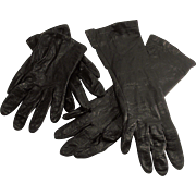 Black Leather Opera Length Gloves and Black Leather Driving Gloves