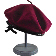 Vintage Cranberry Basque Style Wool Beret by Parkhurst