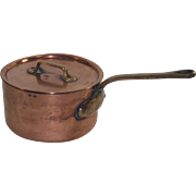 Vintage French Copper Sauce Pot with Original Lid #14
