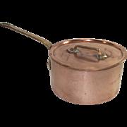 Vintage French Copper Sauce Pot with Original Lid #16