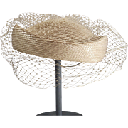 Tan Woven Straw Hat with Complete Netting