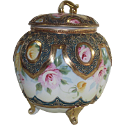 Footed Nippon Biscuit Jar Pink and Yellow Roses  Early 1900's