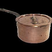 Vintage French Copper Sauce Pot with Original Lid #18