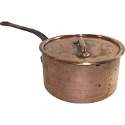 Vintage French Copper Sauce Pot with Original Lid #18