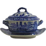 English Blue and White Transferware Covered Sauce Dish with Under Liner