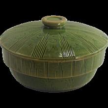 "McCoy MOON & STARS 7 "" Green Glaze Mixing Yellow Ware Bowl  1920's"