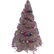 Vintage Pink Bottle Brush Tree with Glass Bead Garland