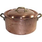 Vintage French Copper One Gallon Stock Pot with Original Lid