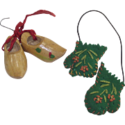 Vintage Dutch Wooden Shoe Christmas Ornaments and German Felt Mittens Ornaments