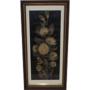 Vintage Yard Long Water Lilies Print in Deep Walnut Frame