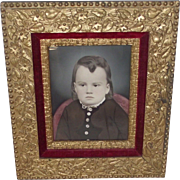 High Victorian Circa 1860s Framed Water Color Young Child