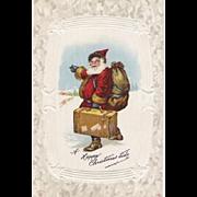Vintage Santa Claus Post Card Old World Saint Nicholas With His Suitcase