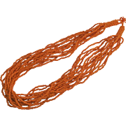 Orange Seed Bead Fifteen Strand Necklace