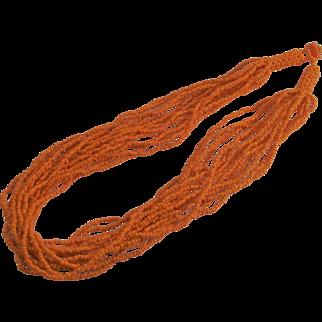 Orange Seed Bead Fifteen Strand Necklace