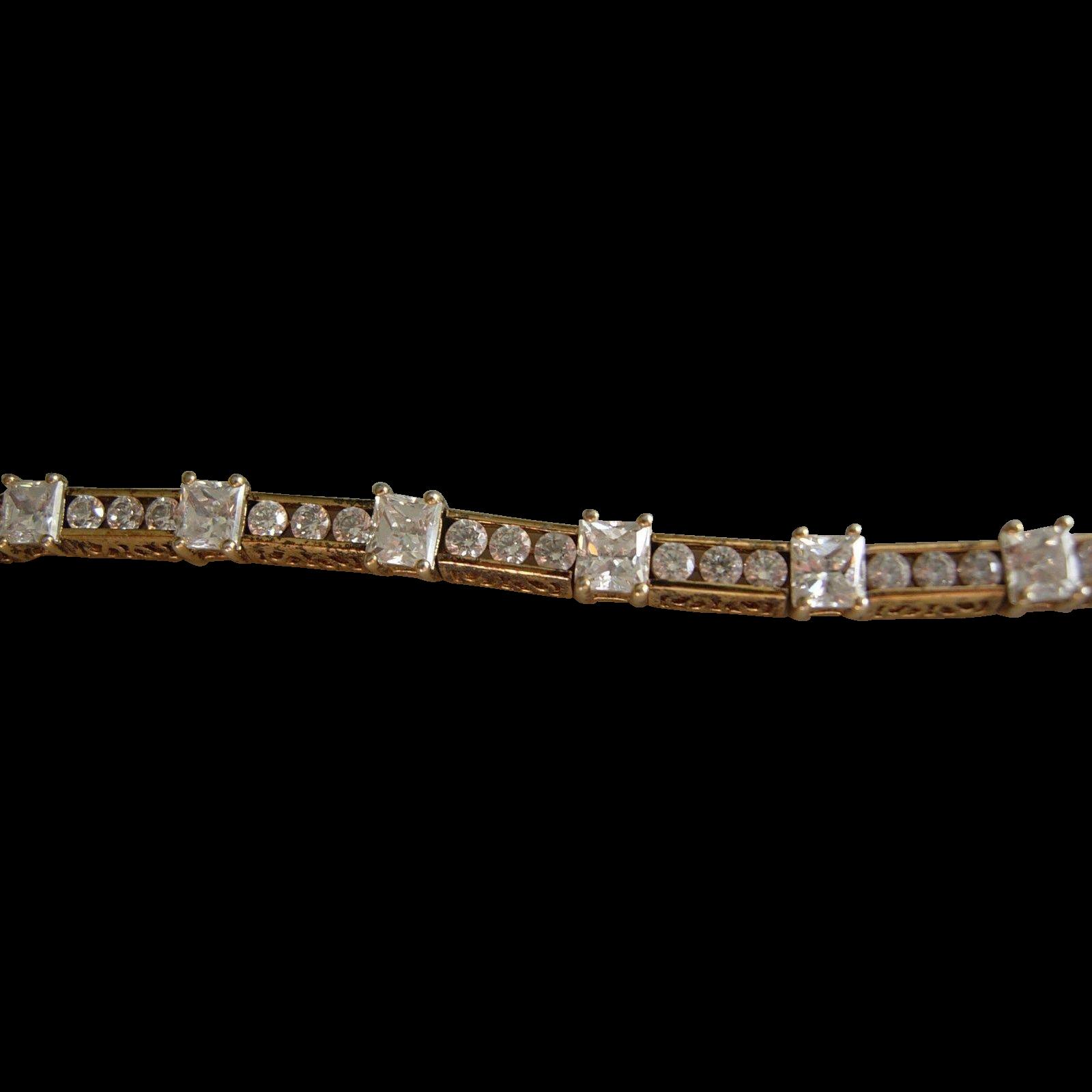 Vintage princess Cut and Rounds Tennis Bracelet