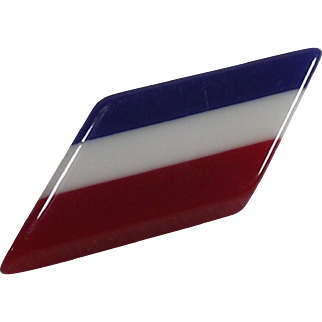 Vintage Thermoplastic Red White and Blue Brooch