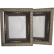 Antique Walnut Frames with Sponge Decoration Containing Mirrors Matched Pair 1870's