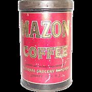 Vintage Coffee Tin Mazon Jersey City NJ General Store Advertising