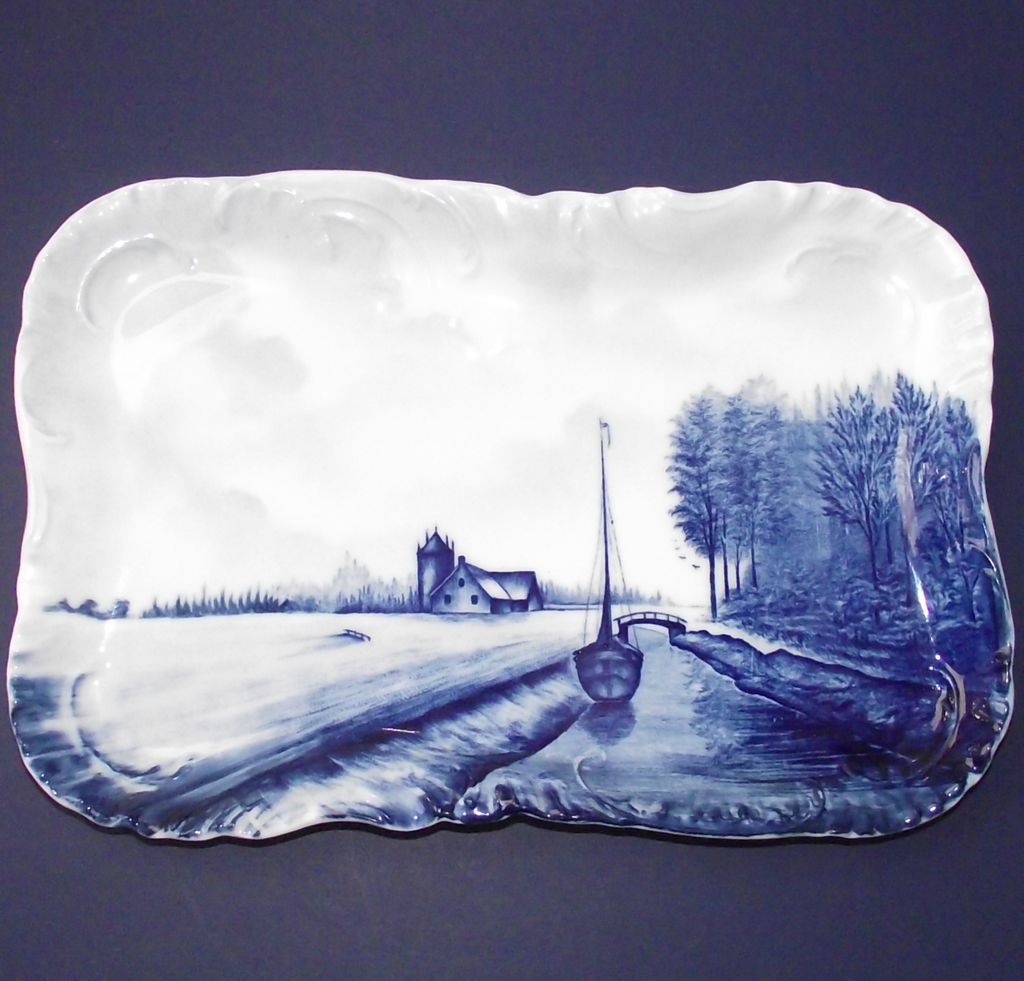 Crown Rosenthal Blue Delft Tray Canal – Sailboat - Cottage  c.1899