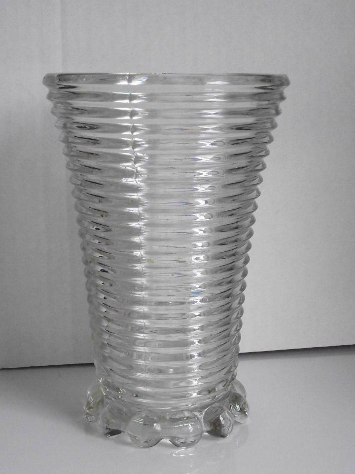 Manhattan Pattern Clear Depression Glass Vase