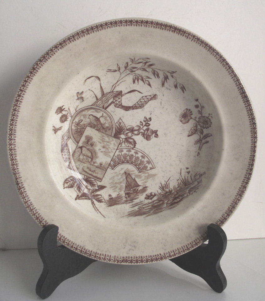 Victorian Aesthetic Movement Brown & White Transfer ware Flat Soup