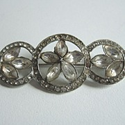 1920's Paste Stone Three Circles Bar Pin Brooch