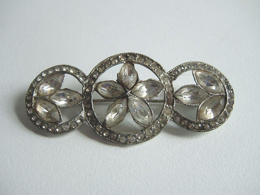 1920's Paste Stone Three Circles Bar Pin Brooch