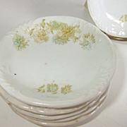 Green & White Transferware Butter Pats W.H.Grindley  6 Piece Set