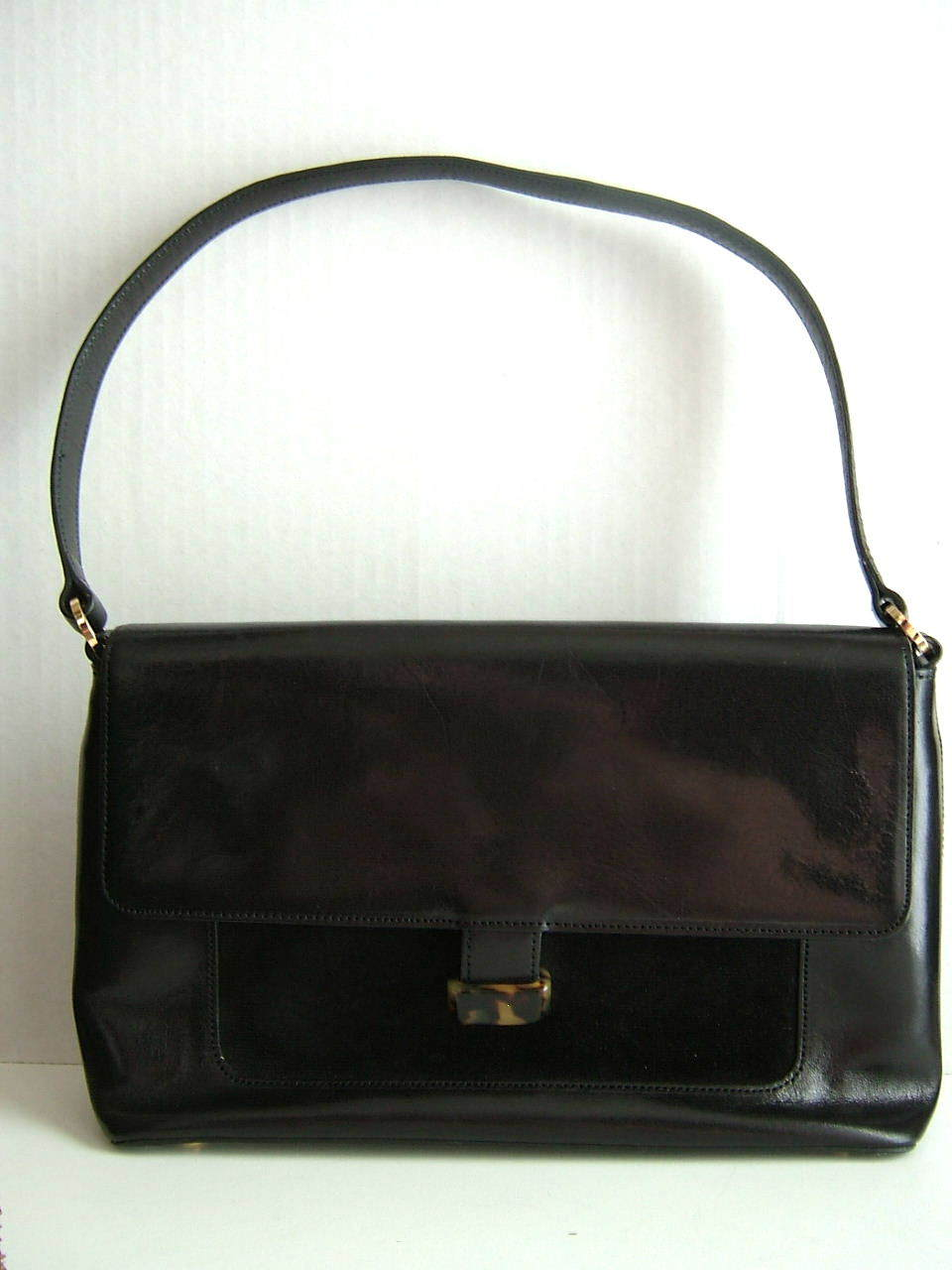 Vintage Ann Taylor Black Handbag with Tortoise Closure