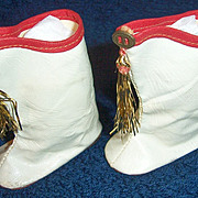 "ON SALE 1950s Majorette Doll Boots for 21"" Dolls 2 3/4"" long. S B Novelty Co"