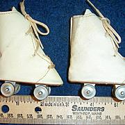 "ON SALE Vintage 1950s Doll Roller Skates Lace Up White Vinyl 3"" x 1 1/4"""