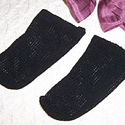 Doll Socks French German Open Weave Knit Black