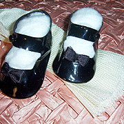 "Vintage 3"" Pair Side Snap Doll Shoes. Black + Rayon Stockings"