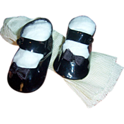 """Vintage 3"""" Pair Side Snap Doll Shoes. Black + Rayon Stockings"""