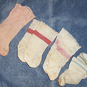 4 Pair Vintage Rayon Doll Socks Stockings. Pink White Blue Med.