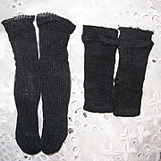 2 Pair Vintage Rayon Socks Stockings Black for Smaller Dolls