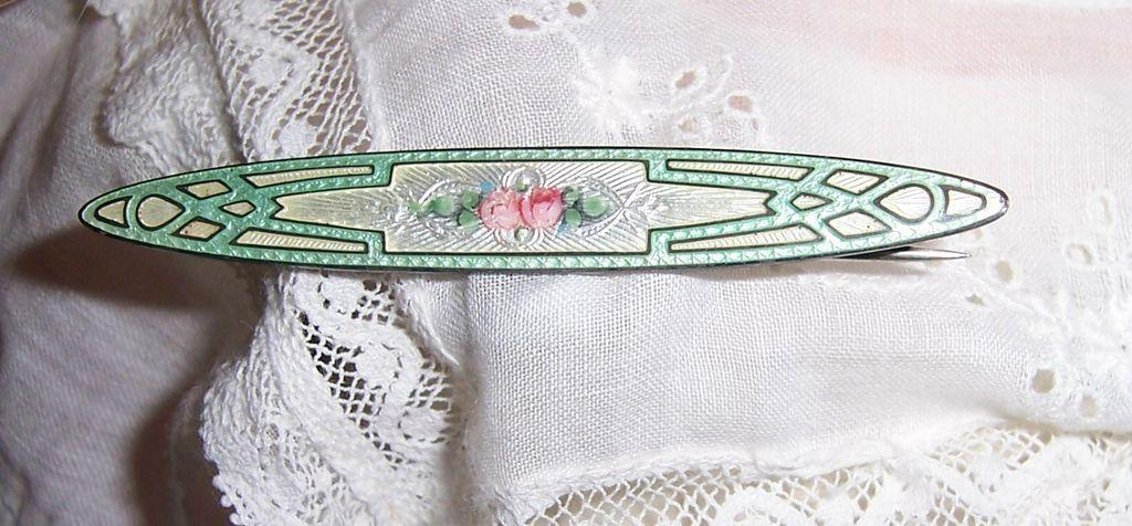 ON SALE Vintage Sterling Art Deco Guilloche Enamel Bar Pin Brooch. Soft Green w Pink Roses