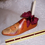 Old Wood Shoe Last Hand Ptd Santa Claus on Toe. Holds A Candle. Really Special