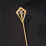14K Krementz Stick or Lapel Pin w Blue Stone.  Shield Design.