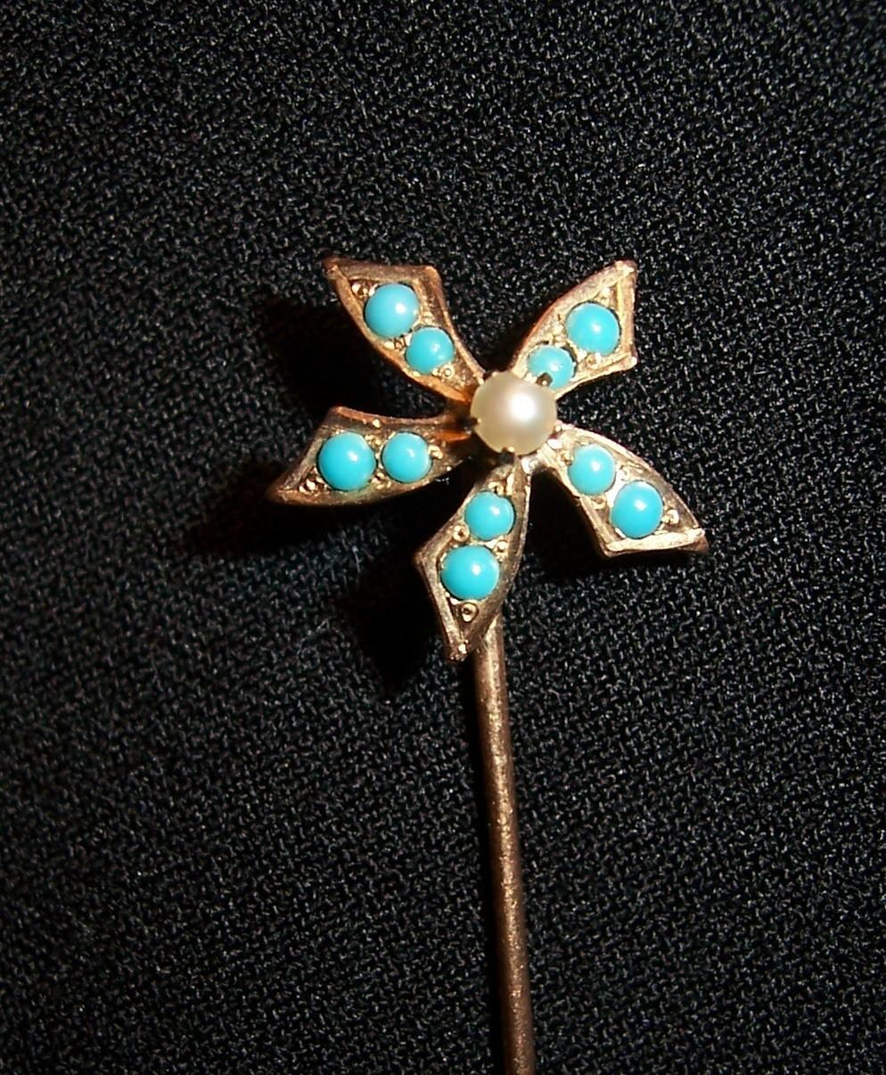 Vintage Stick Pin Turquoise colored Stones Flower Petal Design Lapel Pin