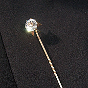 Vintage Stick Pin Lapel Pin w Clear Faceted Stone Prong Set.