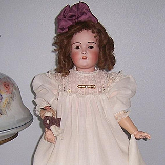"""27"""" J.D. Kestner 196 with Hair Brows. Antique German Bisque Head Doll. Beautiful Antique dress. Display Ready."""