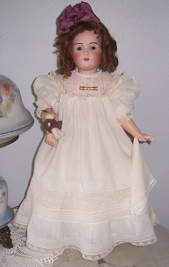 "27"" J.D. Kestner 196 with Hair Brows. Antique German Bisque Head Doll. Beautiful Antique dress. Display Ready."